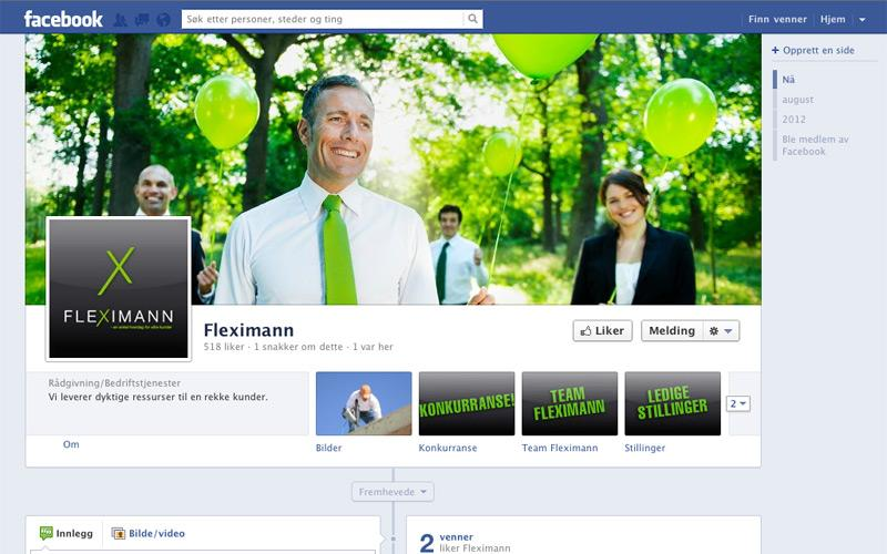 Arbeid med facebook-side for Fleximann