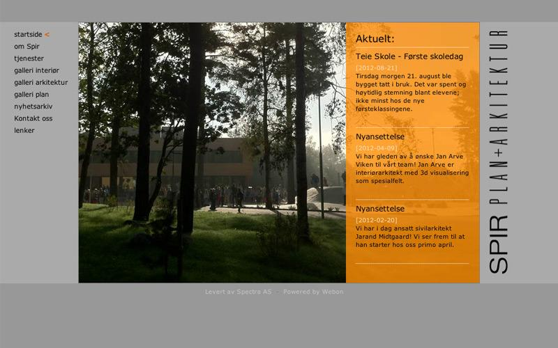 Webdesign for Spir Arkitekter