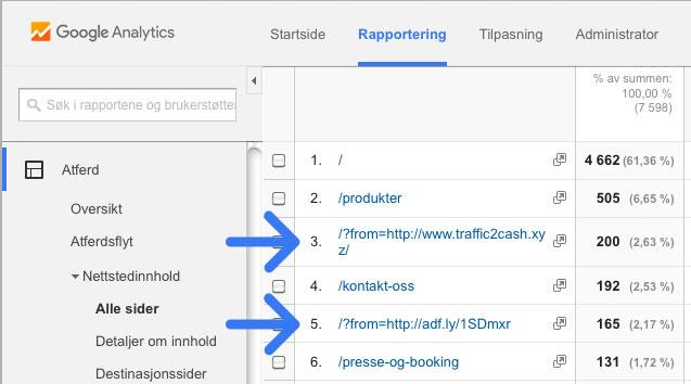 Referer spam i Google Analytics