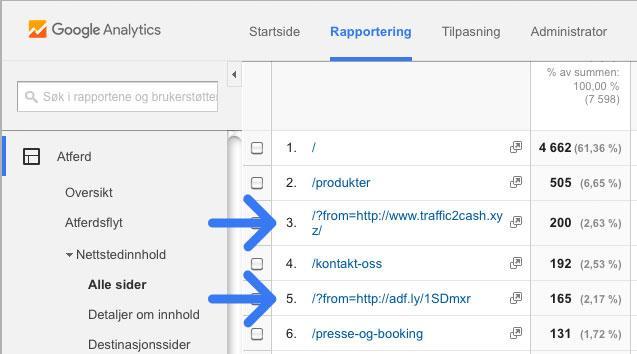 Referer spam i Google Analytics
